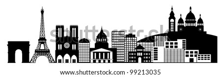 Paris France City Skyline Panorama Black and White Silhouette Clip Art Illustration