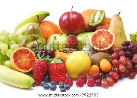 fruits composition in front of a white background #9922903