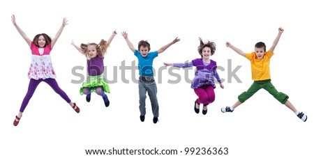 Happy joyful kids jumping high with real life facial expressions - isolated #99236363