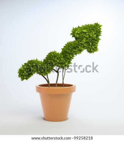 A small plant in a pot shaped like a graph #99258218