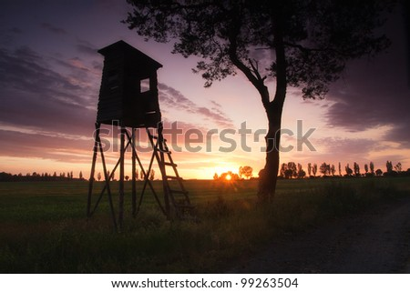 Raised hide at sunset