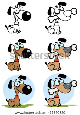 Dog With Big Bone Different Color. Raster Illustration.Vector version also available in portfolio.