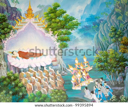 Art Thai, Buddha painting on wall in temple