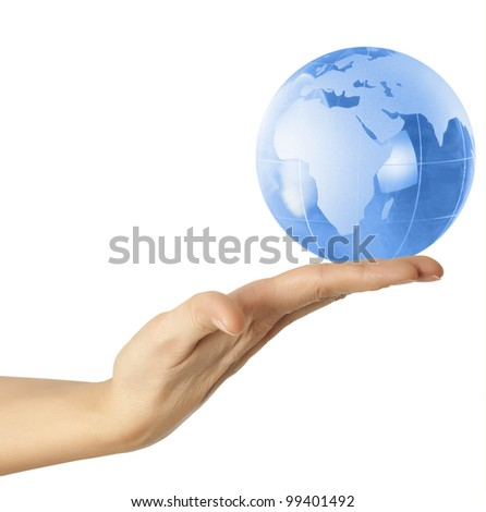 earth globe in his hands #99401492