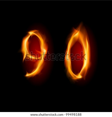 Two alphabet symbol of fire - numbers nine and zero. Illustration on white background #99498188