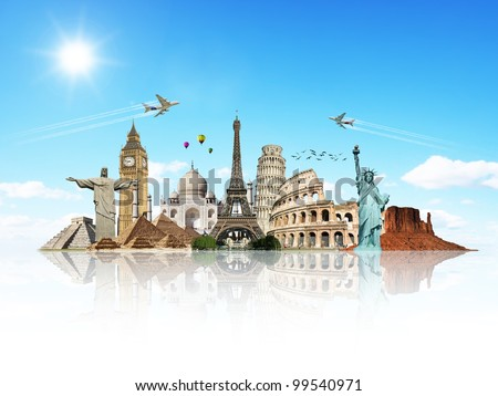 Travel the world monuments concept reflection #99540971