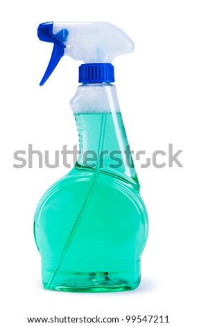 Green plastic dispenser with cleaning liquid on white background #99547211
