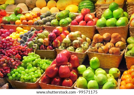 Fresh fruits at a market #99571175