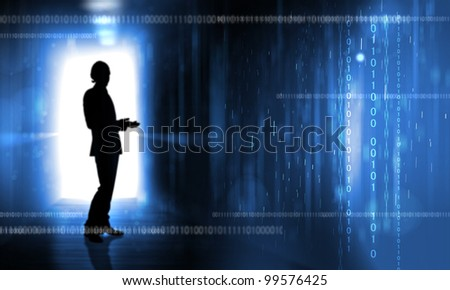 Silouhette of a person against digital background #99576425