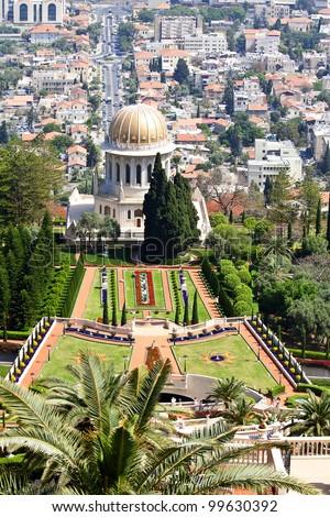 View of Haifa, Bahai Gardens and Shrine of the Bab, Israel #99630392
