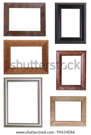 Set of Vintage gold and wood picture frame, isolated on white