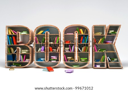 3d image of colorful book in shelve in shape of book word