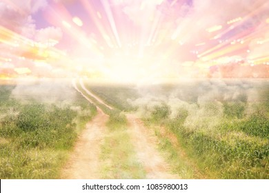 image of abstract path to heaven or sky. seeing the light concept or way to freedom
