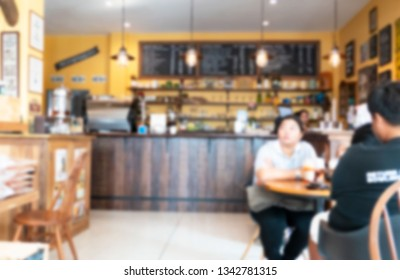 blur  image abstract in restaurant for background. Business concept .