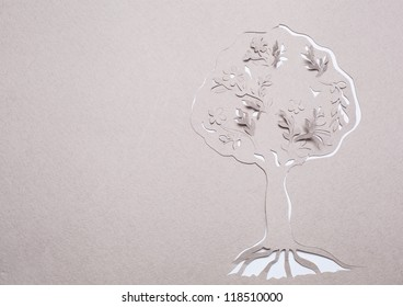 Image of abstract white tree handmade.Eco background.