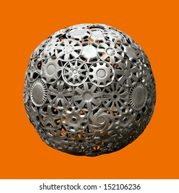 image of advertising ball made of automobile hubcaps over monochromatic background
