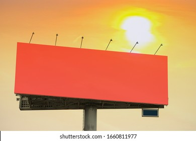 image of an advertising billboard at sunset