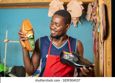 image of african man, with foot wear- shoe manufacturing concept