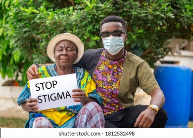 image of african woman, young man in face mask, with inscription stop stigma