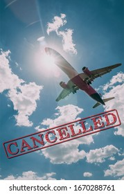 Image of an airplane with the text Cancelled representing cancelled flights due to coronavirus outbreak.