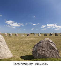 Image of Ales stenar, famous standing stones in the south of Sweden.