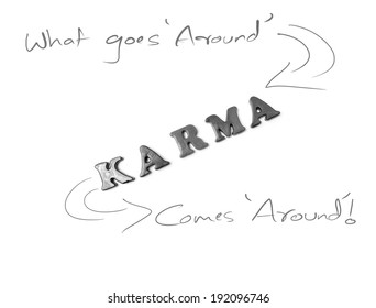 image of alphabets stating Karma