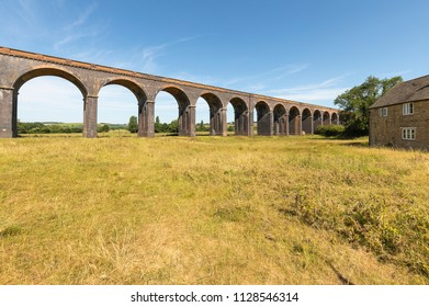 An image of the amazing Harringworth Viaduct with a span of eighty two arches  1,275 yards long (1.166 km) shot at Harringworth, Northamptonshire, England, UK.
