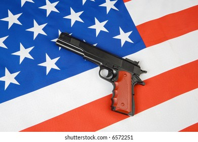 Image of American flag and a gun