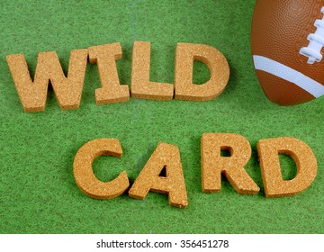 Image for American style football with fake football on green grass background representing a playing field and block letters made out of cork spelling message about game day play offs.