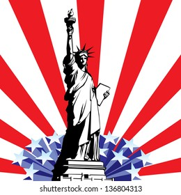image of American symbols of freedom. Statue of Liberty on the background of a stylized flag United States