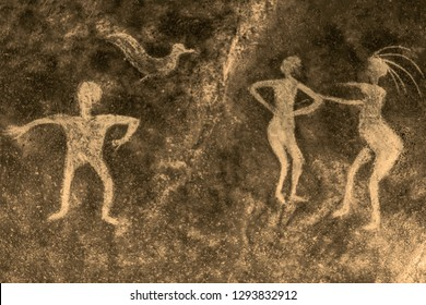image of ancient people on the cave wall. history of antiquities, archeology.