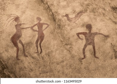 image of ancient people on the wall of a cave painted with ocher. ancient history. era, era.