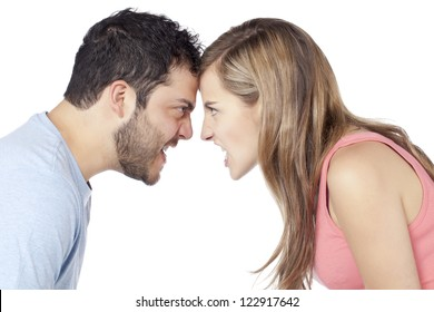 Image of angry couple yelling to each other against white background