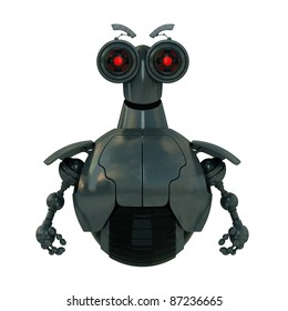 Image with angry robot with red eyes