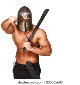 Image of angry warrior with sword who is pointing on someone