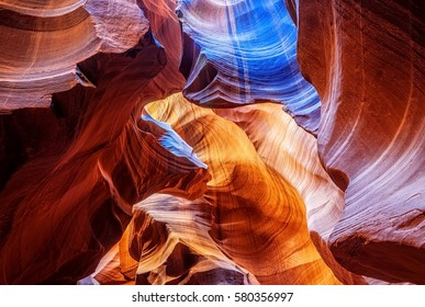 Image from Antelope Canyon that looks like an abstract painting. Flush flooding and rainwater carved the sandstone canyon walls in time into sculptural shapes./Abstract at Antelope Canyon /Arizona, US