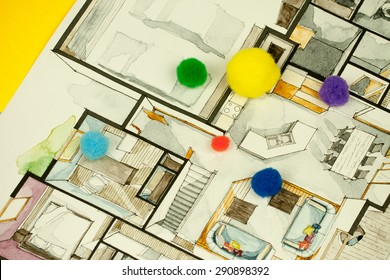 Image of architectural design floor plan sketch drawing illustration of interior decoration apartment part, suitable for explaining playful unique approach to real estate business and design process