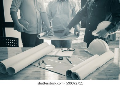 image of the architectural project engineer. Vintage tone and engineering tools in the workplace.