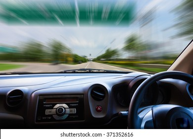 Image area of ??the windshield while driving.