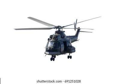 Image of army helicopter is landing in the studio, isolated on white background