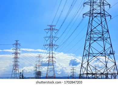 A image of asian electrical power grid and blue sky.