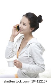 the image of Asian woman on cell phone