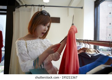 the image of Asian woman shopping