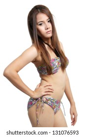 Image of asian young woman in sexy bikini for summer on white background