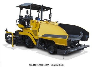 Image of asphalt spreader machine with yellow color, isolated on white background