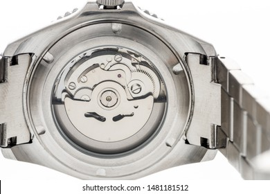An image of the back of an automatic watch with japanese movement