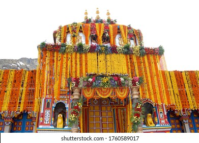 A image of Badrinath temple  covered by beautiful flowers in opening ceremony