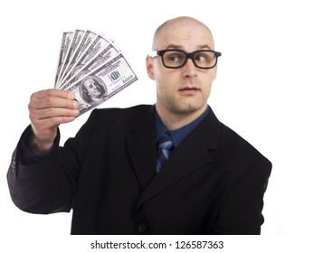 Image of a bald man holding a fan of dollar bills over the white background
