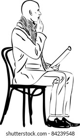 image bald man is reading on a chair