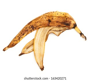 The image of a banana peel on a white background